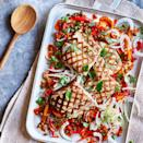 <p>This healthy grilled fish dish is made for easy summertime entertaining. The peperonata can be made in advance and reheated while you grill the fish.</p>