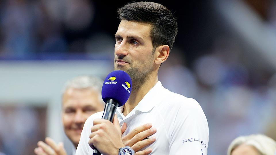 Pictured here, Novak Djokovic chokes back tears during his runner-up speech at the US Open.