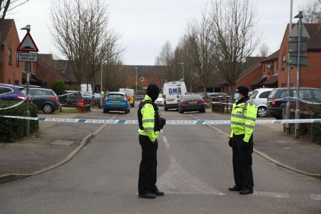 Police officers at scene of murder