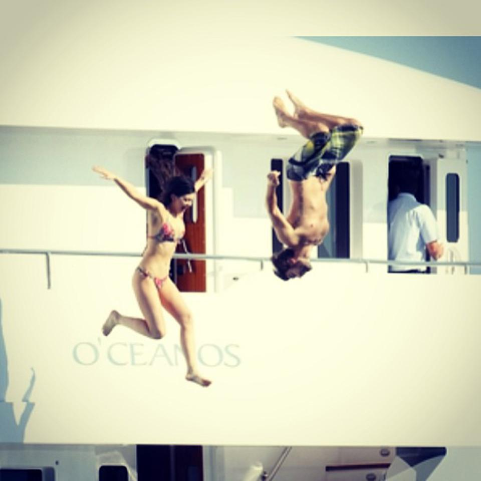 "Brody and half sister Kylie Jenner took advantage of their proximity to the Mediterranean to show off their dare-devil talents <a href=""http://instagram.com/p/YsbxPVMIMc/"" target=""_blank"">for the camera</a>."