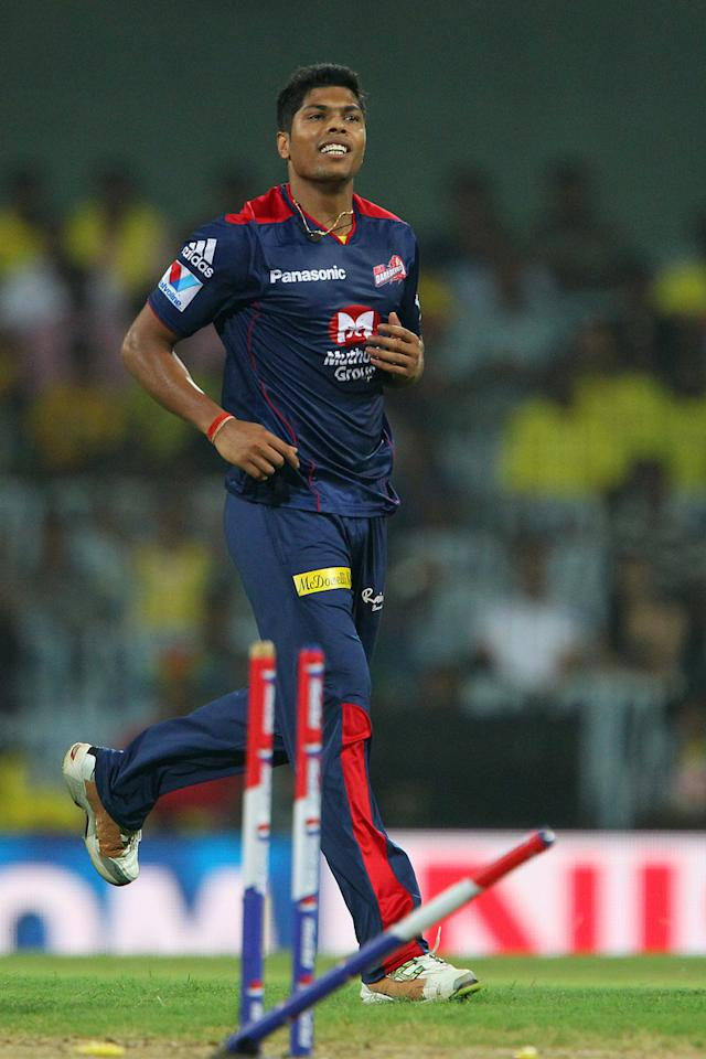 Umesh Yadav celebrates the wicket of Ravindra Jadeja  during match 64 of the Pepsi Indian Premier League between The Chennai Superkings and the Delhi Daredevils held at the MA Chidambaram Stadium in Chennai on the 14th May 2013..Photo by Ron Gaunt-IPL-SPORTZPICS   .. .Use of this image is subject to the terms and conditions as outlined by the BCCI. These terms can be found by following this link:..https://ec.yimg.com/ec?url=http%3a%2f%2fwww.sportzpics.co.za%2fimage%2fI0000SoRagM2cIEc&t=1503115369&sig=pzpi1mdRugcTLlV.2T2v0g--~D