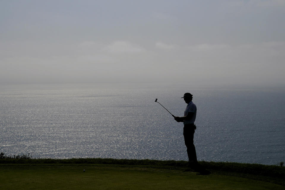 Lanto Griffin line up his shot on the fourth green during the first round of the U.S. Open Golf Championship, Thursday, June 17, 2021, at Torrey Pines Golf Course in San Diego. (AP Photo/Jae C. Hong)