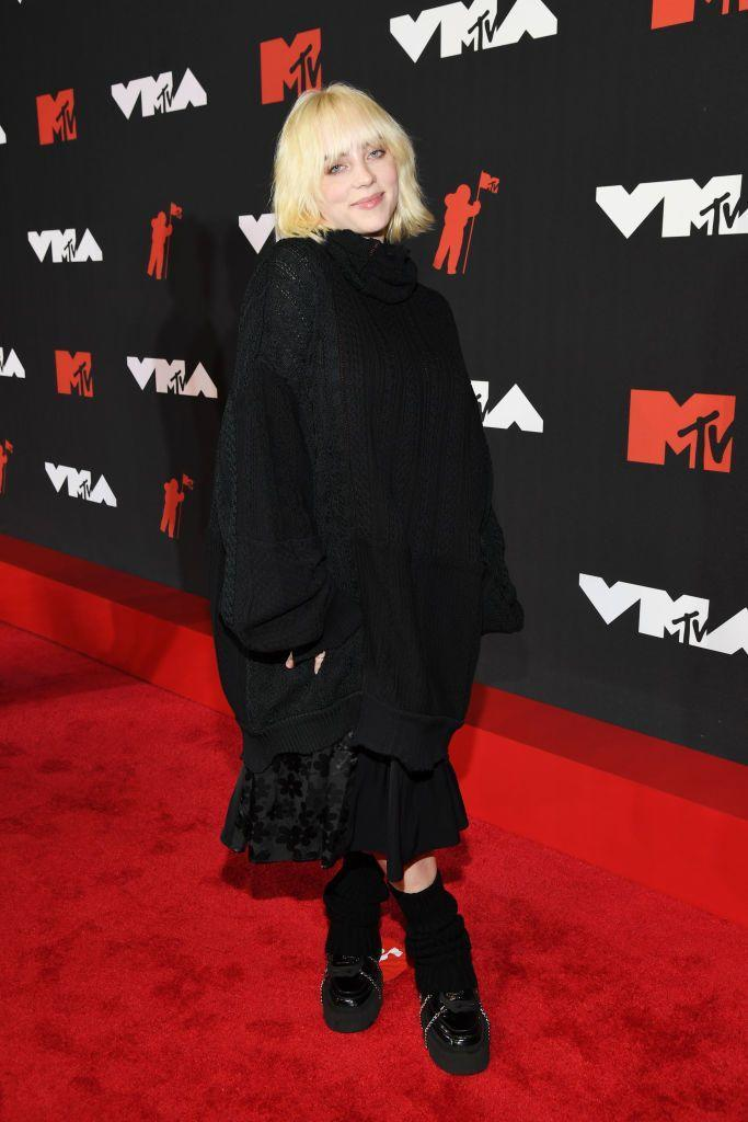 <p>Eilish wore all black including a Good Fight skirt.</p>
