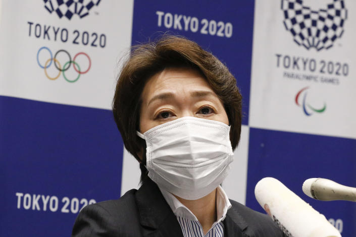 President of the Tokyo 2020 Olympics Organising Committee Seiko Hashimoto attends a press conference in Tokyo on March 5, 2021. / Credit: RODRIGO REYES MARIN/POOL/AFP/Getty