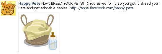 Happy Pets on Facebook - breed your own pets feed promo