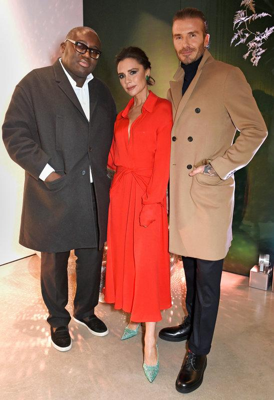 Rubbing shoulders with the fashion pack. British Vogue Editor Edward Enninful, Victoria Beckham and David Beckham hosting the Christmas Open House hosted with British Vogue in 2017.