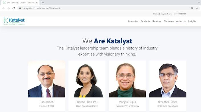 Rahul D. Shah, 51, of Evanston, is listed as the founder and CEO of Katalyst Technologies, Inc. (Screen capture, June 16)