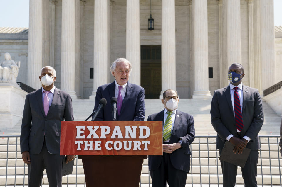 From left, Rep. Hank Johnson, D-Ga., Sen. Ed Markey, D-Mass., House Judiciary Committee Chairman Jerrold Nadler, D-N.Y., and Rep. Mondaire Jones, D-N.Y., hold a news conference outside the Supreme Court to announce legislation to expand the number of seats on the high court, on Capitol Hill in Washington, Thursday, April 15, 2021. (AP Photo/J. Scott Applewhite)