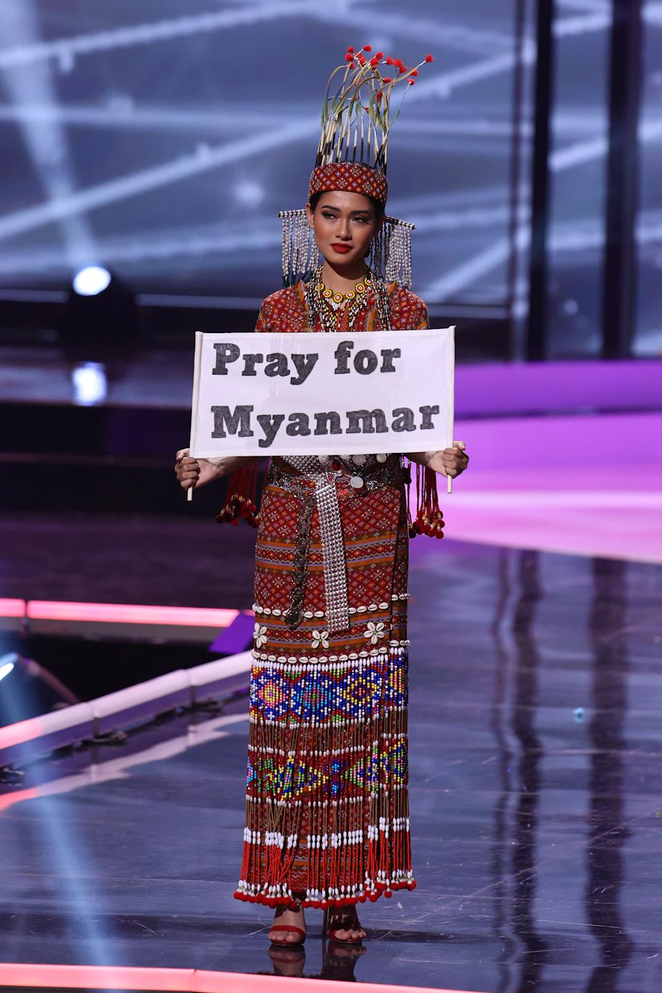 HOLLYWOOD, FLORIDA - MAY 13: Miss Myanmar Thuzar Wint Lwin appears onstage at the 69th Miss Universe National Costume Show at Seminole Hard Rock Hotel & Casino on May 13, 2021 in Hollywood, Florida. (Photo by Rodrigo Varela/Getty Images)