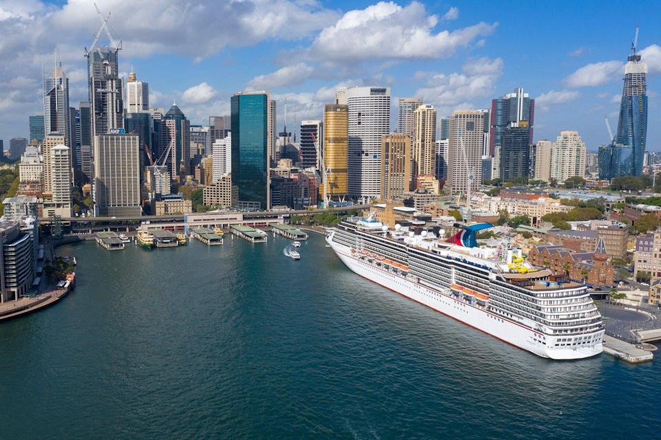 An aerial image of Carnival Spirit at the Overseas Passenger Terminal in Circular Quay in Sydney, Australia