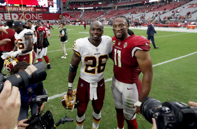 Graybeard Adrian Peterson returned to Arizona and posted old school numbers. Look for him to do it again at home against Indy's laughable defense. (AP Photo/Rick Scuteri)