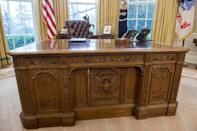 "<p>Queen Victoria gifted Rutherford B. Hayes an <a href=""https://www.whitehousehistory.org/photos/treasures-of-the-white-house-resolute-desk"" rel=""nofollow noopener"" target=""_blank"" data-ylk=""slk:ornate desk, carved from the timbers of the British ship H.M.S."" class=""link rapid-noclick-resp"">ornate desk, carved from the timbers of the British ship H.M.S.</a> in 1880. Now, it's know as the <a href=""http://www.whitehousemuseum.org/furnishings/resolute-desk.htm"" rel=""nofollow noopener"" target=""_blank"" data-ylk=""slk:Resolute Desk"" class=""link rapid-noclick-resp"">Resolute Desk</a>, and has become a staple piece in the Oval Office. The desk has been used by all but three presidents since it was given. </p>"