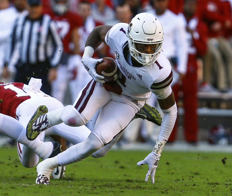 Mississippi State wide receiver Stephen Guidry (1) catches a pass during the first half of an NCAA college football game against Alabama, Saturday, Nov. 10, 2018, in Tuscaloosa, Ala. (AP Photo/Butch Dill)