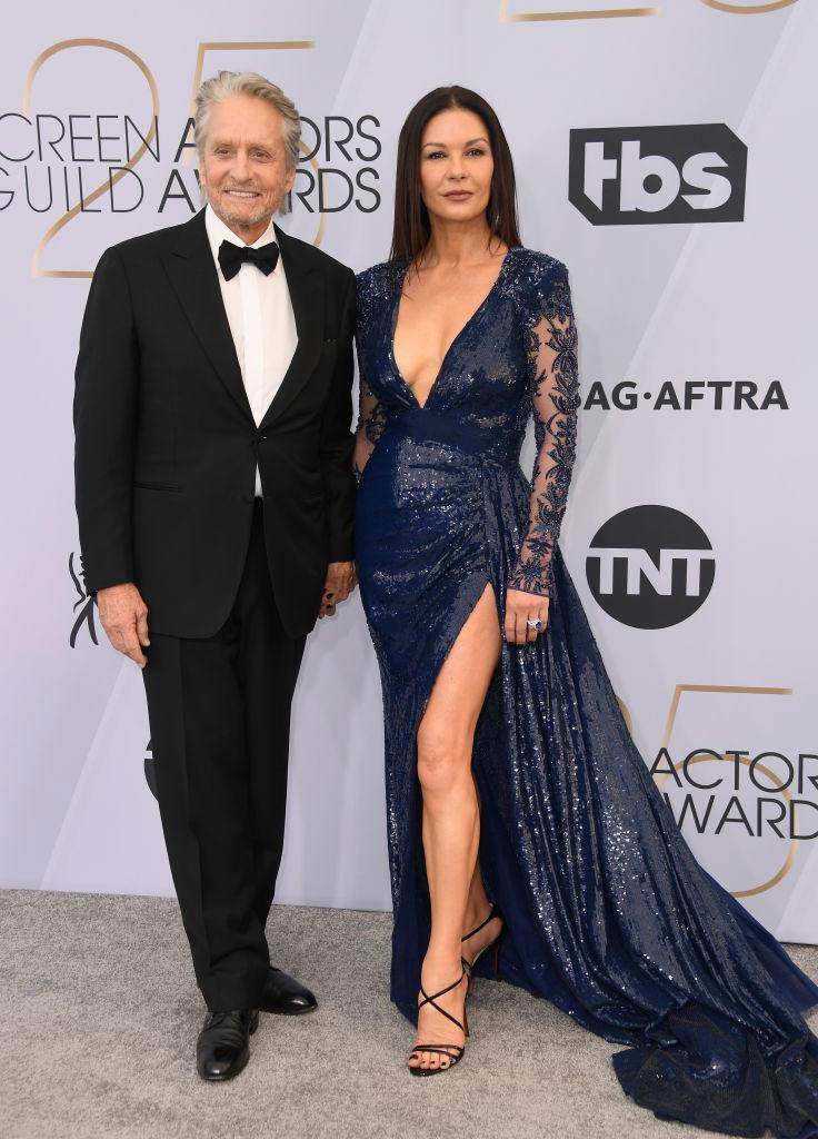 Zeta-Jones showcases her incredible legs in this midnight blue gown and gathered parting at the Annual Screen Actors Guild Awards in 2019. (Getty Images)