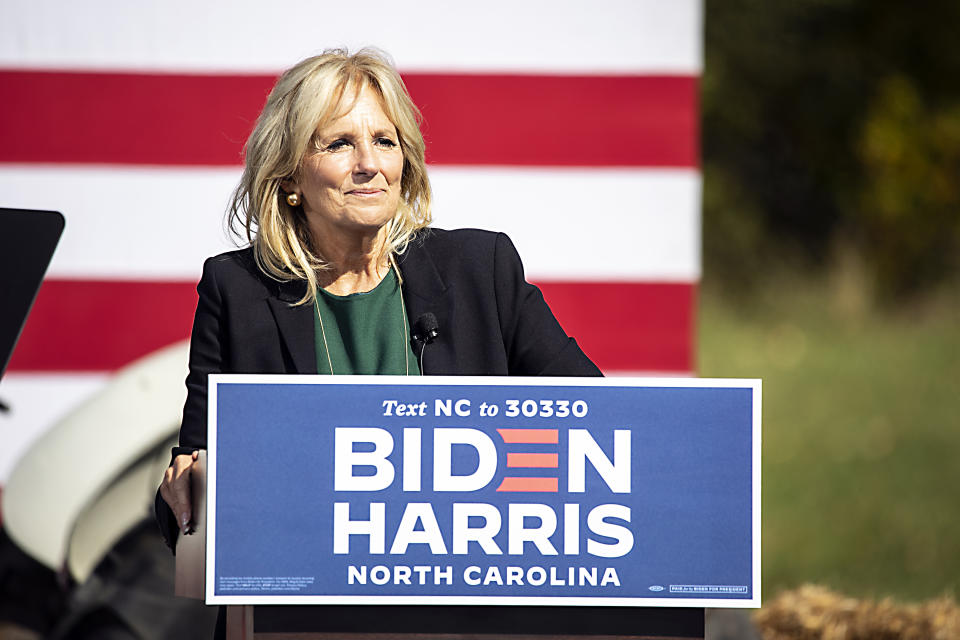 CHARLOTTE, NORTH CAROLINA - OCTOBER 31: Dr. Jill Biden, wife of Democratic U.S. presidential nominee Joe Biden, speaks on October 31, 2020 in Charlotte, North Carolina. She is in North Carolina campaigning for former Vice President Joe Biden and Senator Kamala Harris ahead of the 2020 Presidential election on November 3, 2020 (Photo by Jeff Hahne/Getty Images)