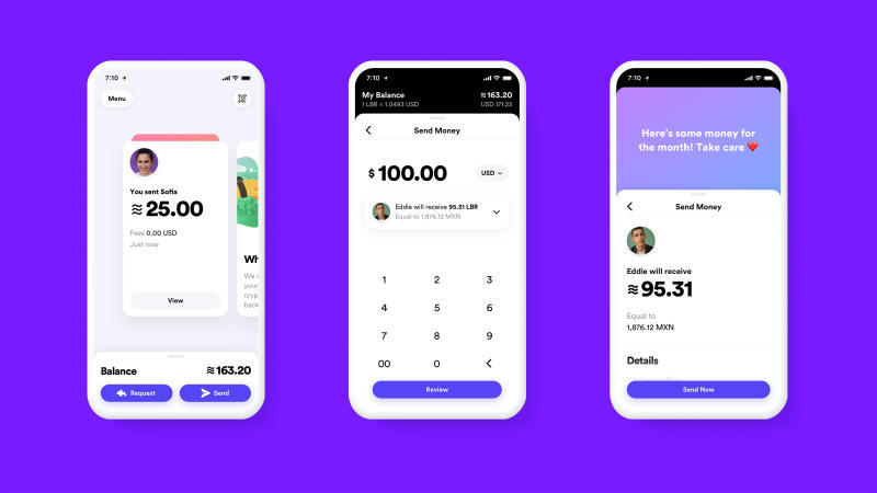 This undated image provided by Calibra shows what the Calibra digital wallet app might look like. Facebook formed the Calibra subsidiary to create a new digital currency similar to Bitcoin for global use, one that could drive more e-commerce on its services and boost ads on its platforms. Facebook unveiled the ambitious plan Tuesday, June 18, 2019. (Calibra via AP)