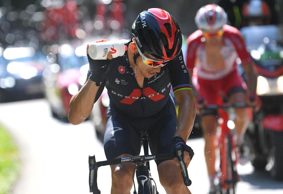 LA ROCHESURFORON FRANCE  SEPTEMBER 17 Michal Kwiatkowski of Poland and Team INEOS Grenadiers  Refreshment  during the 107th Tour de France 2020 Stage 18 a 175km stage from Mribel to La Roche sur Foron 543m  TDF2020  LeTour  on September 17 2020 in La RochesurForon France Photo by Tim de WaeleGetty Images