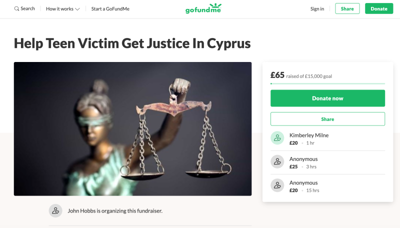 A GoFundMe page has been set up by the family of a girl accused of making a false allegation of gang rape in Cyprus (Picture: GoFundMe)