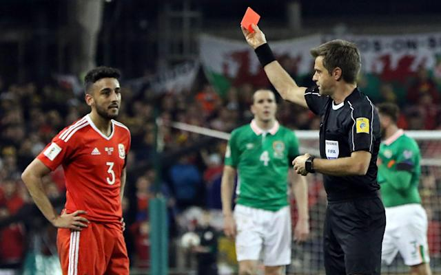 <span>Neil Taylor was sent off for his tackle on Seamus Coleman</span> <span>Credit: afp </span>