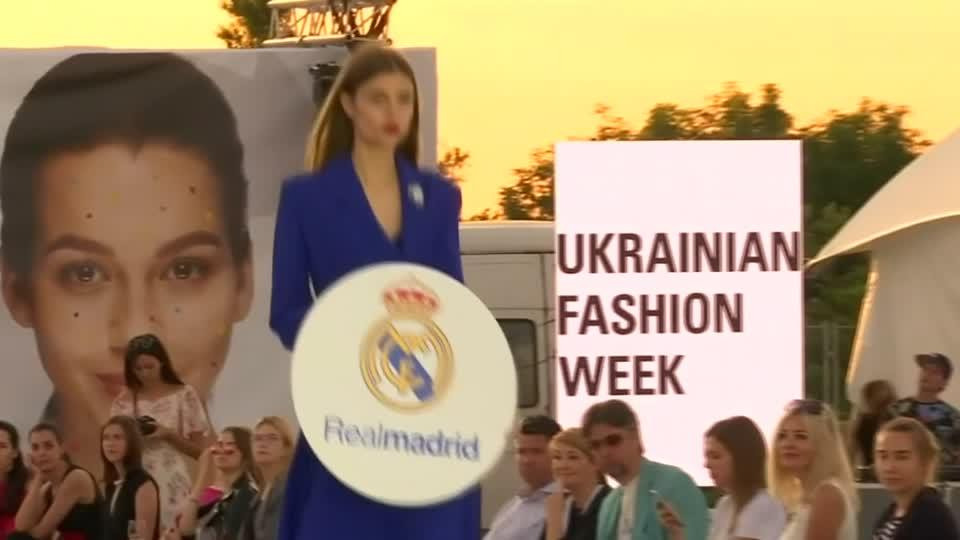 In honor of the Champions League final in Kiev on Saturday, Ukrainian designers put on a fashion show this week with outfits inspired by Real Madrid and Liverpool. Rough Cut (no reporter narration).