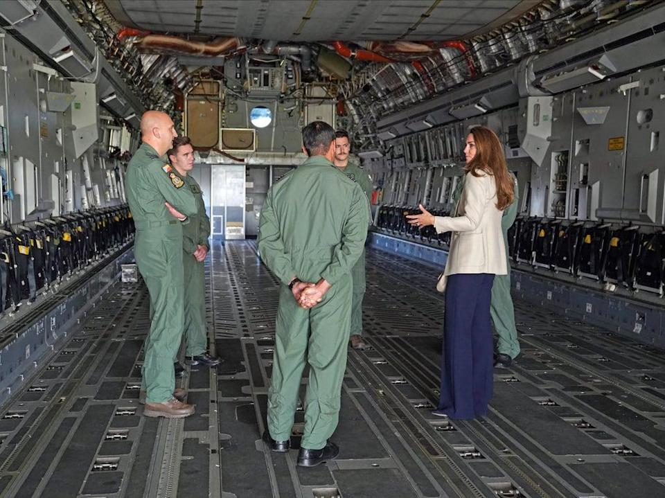 The Duchess of Cambridge stands in the fuselage of an RAF C17 Globemaster during a visit to RAF Brize Norton, near Oxford (PA)