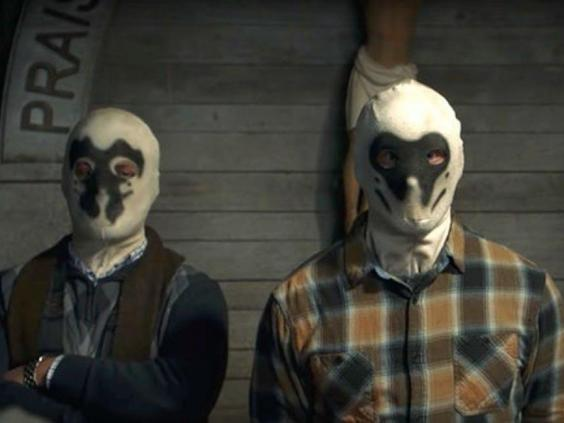 Members of white supremacist group, the Seventh Kavalry, wear Rorschach masks in Damon Lindelof's 'Watchmen' series (HBO)