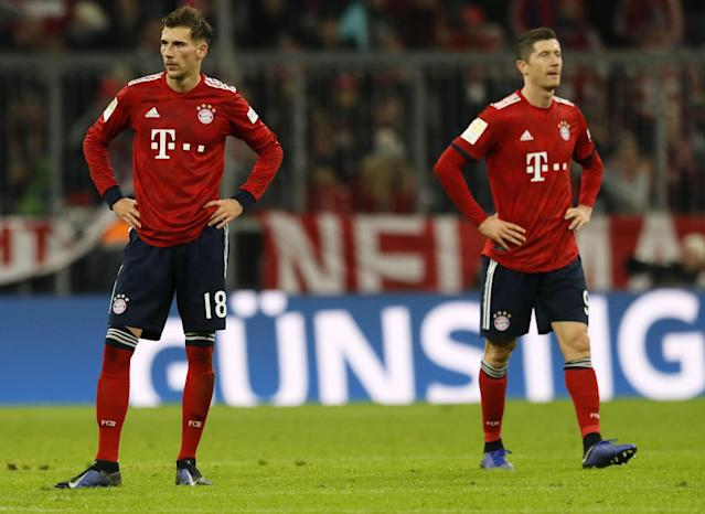 Bayern's Leon Goretzka, left, and Robert Lewandowski were none too happy with Saturday's result. (EFE)