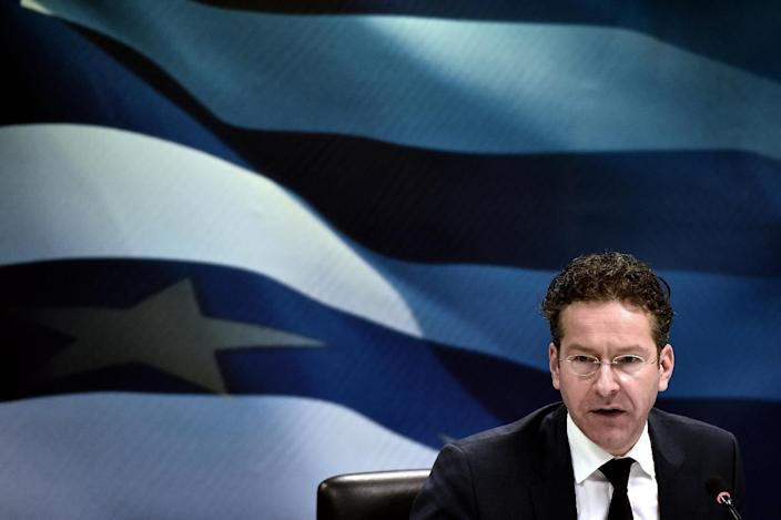 Eurogroup chairman Jeroen Dijsselbloem speaks during a press conference with the Greek Finance Minister after their meeting in Athens on January 30, 2015 (AFP Photo/Aris Messinis)