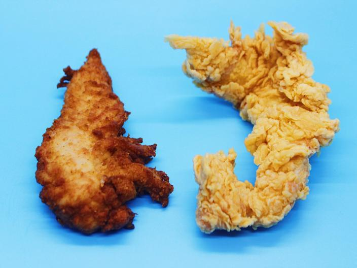 chick fil a popeyes chicken tender on blue background