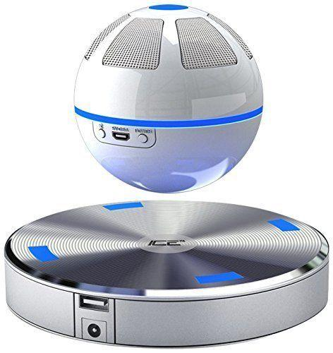 "This <a href=""https://www.amazon.com/dp/B00UW0MOCA/ref=strm_fun_nad_36_3?th=1"" target=""_blank"">floating Speaker Orb</a> spins above a magnetic base for increased 3D surround effect."