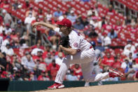 St. Louis Cardinals starting pitcher Jake Woodford throws during the first inning of a baseball game against the Los Angeles Dodgers Thursday, Sept. 9, 2021, in St. Louis. (AP Photo/Jeff Roberson)