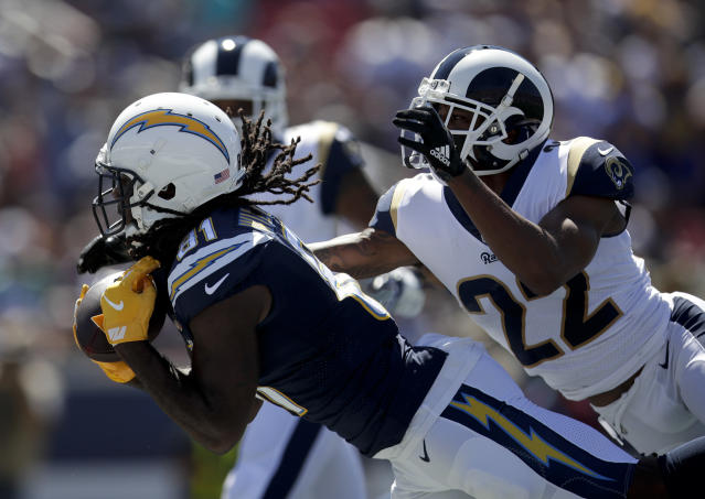 """Sunday's win over the <a class=""""link rapid-noclick-resp"""" href=""""/nfl/teams/lac"""" data-ylk=""""slk:Chargers"""">Chargers</a> may prove costly for the Rams, who lost both starting cornerbacks <a class=""""link rapid-noclick-resp"""" href=""""/nfl/players/28406/"""" data-ylk=""""slk:Marcus Peters"""">Marcus Peters</a> and <a class=""""link rapid-noclick-resp"""" href=""""/nfl/players/8797/"""" data-ylk=""""slk:Aqib Talib"""">Aqib Talib</a> to injury. (AP)"""