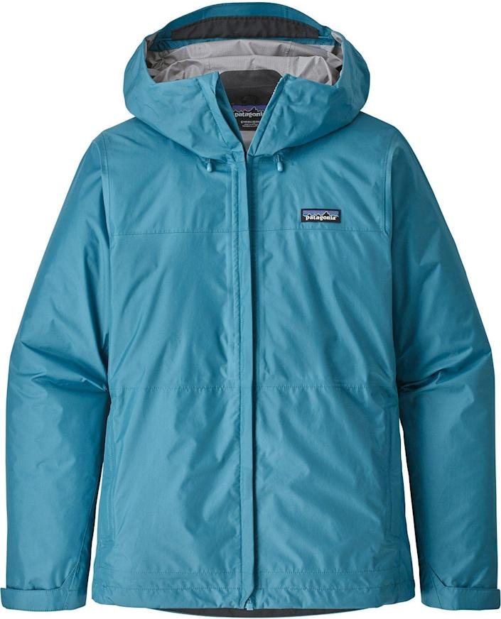 """<p><strong>Patagonia</strong></p><p>rei.com</p><p><a href=""""https://go.redirectingat.com?id=74968X1596630&url=https%3A%2F%2Fwww.rei.com%2Frei-garage%2Fproduct%2F165091&sref=https%3A%2F%2Fwww.popularmechanics.com%2Fadventure%2Foutdoor-gear%2Fg30361215%2Frei-end-of-year-sale%2F"""" rel=""""nofollow noopener"""" target=""""_blank"""" data-ylk=""""slk:Shop Now"""" class=""""link rapid-noclick-resp"""">Shop Now</a></p><p><del>$129</del><strong><br>$96.73</strong></p><p>With a water-resistant shell, ventilation zippers, and a microfleece-lined neck that keeps water out, Patagonia's rain jacket proves downpour doesn't have to be such a downer. </p>"""