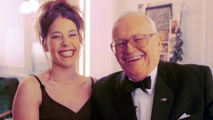 Harry Secombe with West End star Lottie Mayor, 1999