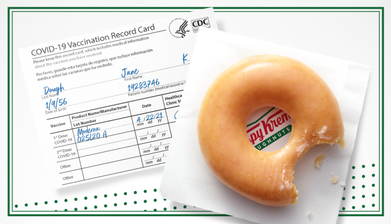 "Promo shot of a doughnut beside a vaccination card for ""Jane Dough"" [image provided by Krispy Kreme]"