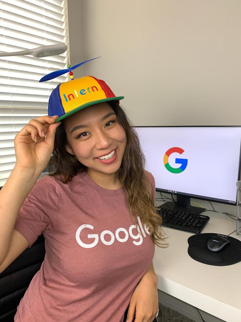 Song with her Google gear in her home office. Angelica Song