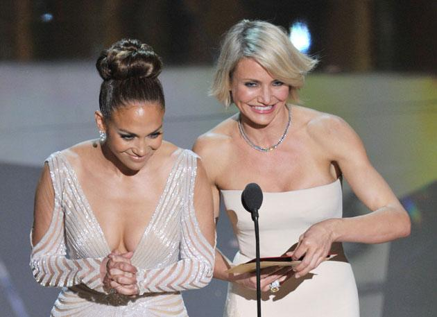 Presenters Jennifer Lopez (L) and Cameron Diaz speak onstage during the 84th Annual Academy Awards held at the Hollywood & Highland Center on February 26, 2012 in Hollywood, California. (Photo by Kevin Winter/Getty Images)