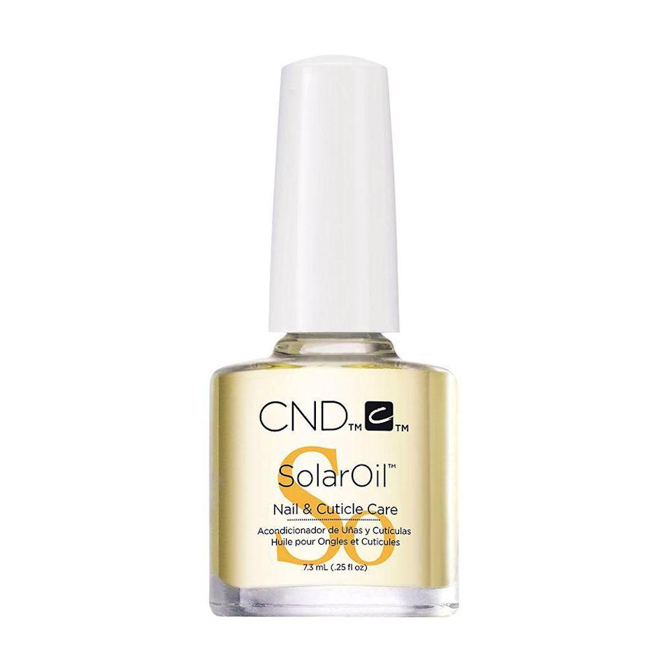 """<p><strong>CND</strong></p><p>amazon.com</p><p><strong>$8.50</strong></p><p><a href=""""https://www.amazon.com/dp/B0037MIMLW?tag=syn-yahoo-20&ascsubtag=%5Bartid%7C2089.g.2709%5Bsrc%7Cyahoo-us"""" rel=""""nofollow noopener"""" target=""""_blank"""" data-ylk=""""slk:Shop Now"""" class=""""link rapid-noclick-resp"""">Shop Now</a></p><p>""""The wonderful almond scent is just one of the many benefits of this oil,"""" says Gonzalez-Longstaff. """"It's able to penetrate the nail bed even with a coat of polish. This oil is one of the best natural nail protectants on the market. It uses jojoba oil, Vitamin E and almond oil. The scent is out of this world and your nails will show improvement within 2 weeks!""""</p>"""