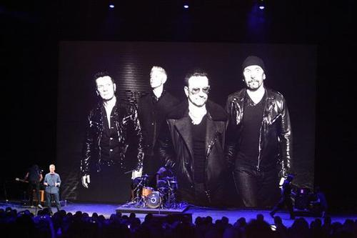 U2 onstage at the Apple announcement