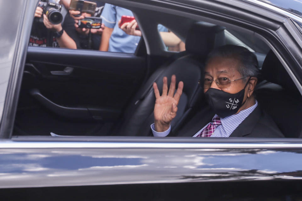 Former prime minister Tun Dr Mahathir Mohamad arrives at Istana Negara gate 3 to give a memorandum seeking the end of the Emergency proclamation at Istana Negara, April 20, 2021. ― Picture by Hari Anggara