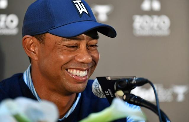 Happy and healthy: Tiger Woods attends a press conference for the PGA Tour's ZOZO championships at Narashino Country Club in Inzai city, Chiba prefecture (AFP Photo/Toshifumi KITAMURA)