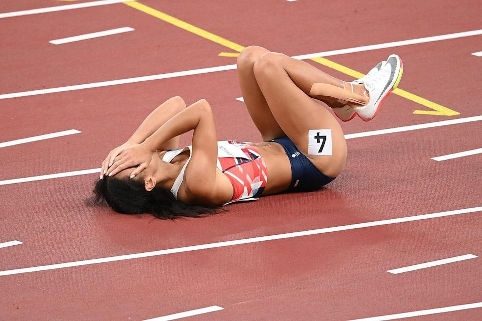 """<p>World champion Katarina Johnson-Thompson had a rocky build up to the Olympics after undergoing Achilles surgery. Sadly in her 200m heat her heavily strapped ankle was unable to take the strain. After stopping in agony she got up to finish the race, jogging to the line. British Athletics have since confirmed Johnson-Thompson had pulled out of the heptathlon, having """"sustained an injury to her right calf"""".</p>"""