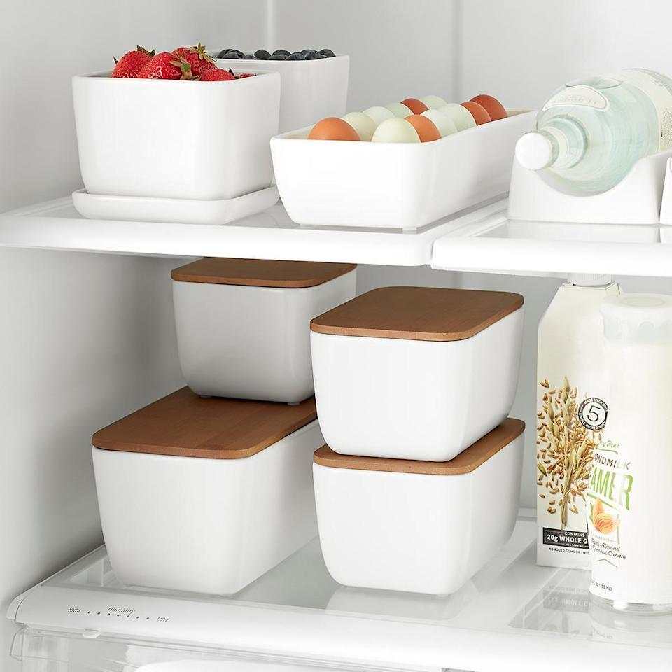 <p>These <span>Marie Kondo Ceramic Fridge Bins</span> ($10-$17) are great for leftovers and fruits.</p>