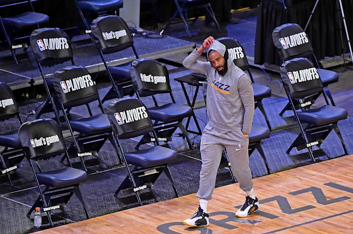 MEMPHIS, TENNESSEE - MAY 29: Mike Conley #10 of the Utah Jazz before the game against the Memphis Grizzlies of Round 1, Game 3 of the 2021 NBA Playoffs on May 29, 2021 at FedExForum in Memphis, Tennessee. NOTE TO USER: User expressly acknowledges and agrees that, by downloading and or using this photograph, User is consenting to the terms and conditions of the Getty Images License Agreement. (Photo by Justin Ford/Getty Images)