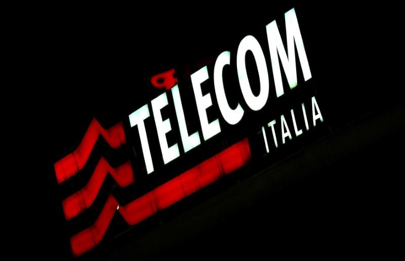FILE PHOTO: The Telecom Italy logo is seen at the headquaters downtown Milan