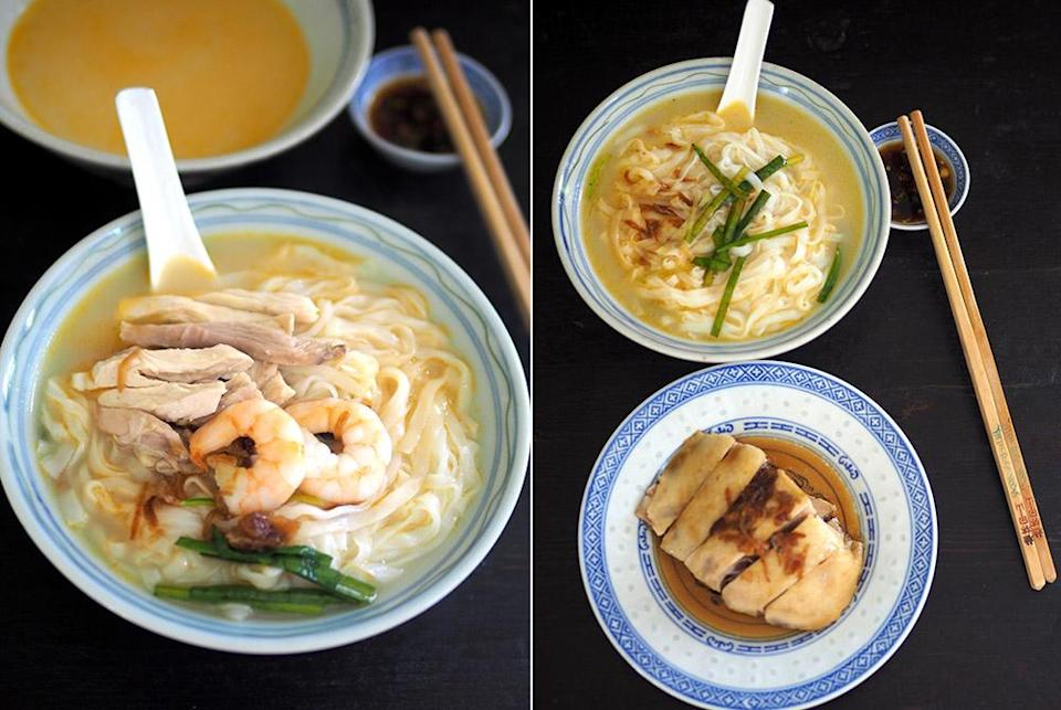 The star of this 'kai si hor fun' is the umami-rich broth with an orange hue from prawn shells (left). If you prefer extra protein, you can order the plain bowl of 'hor fun' with poached chicken on the side (right).