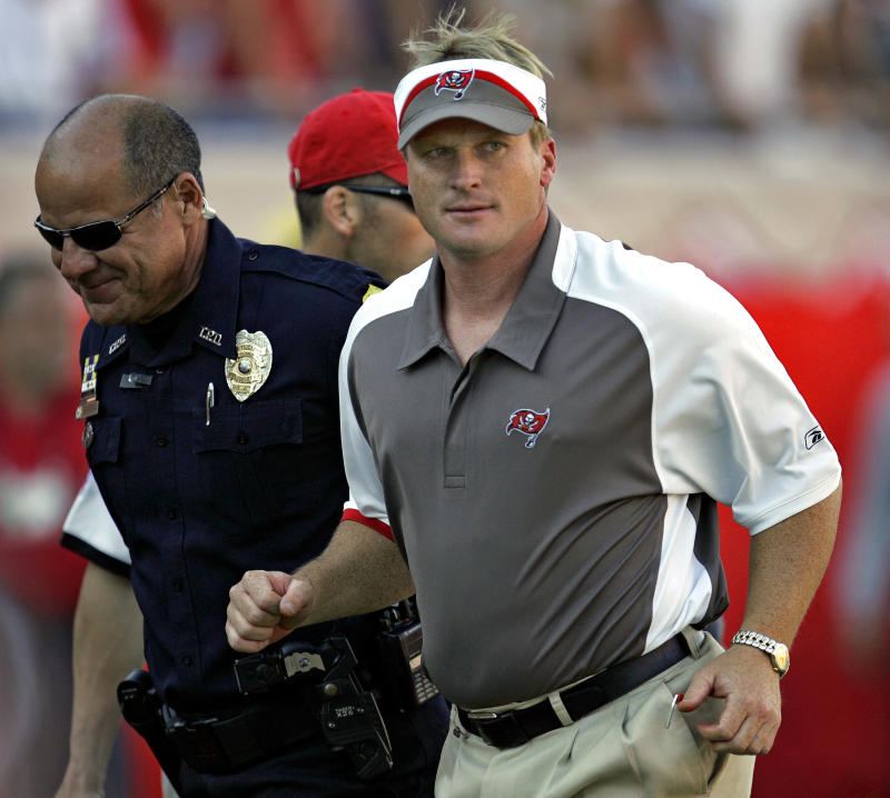 Jon Gruden, shown here in 2007 when he was coach of the Buccaneers, is the favorite to be the Raiders' new coach. (AP)