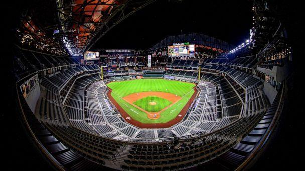 PHOTO: A view of the stands and the open roof during the game between the Texas Rangers and the Houston Astros at Globe Life Field. (Jerome Miron/USA TODAY Sports via Reuters, FILE)