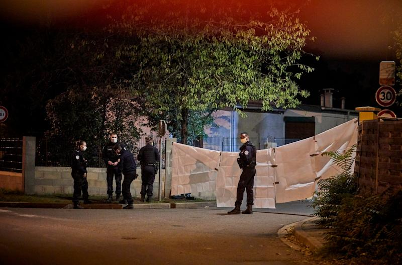 Police guarding the scene of the attack in a northwest Paris suburb (Getty Images)