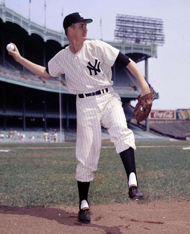 FILE - In this Sept. 5, 1957, file photo, New York Yankees pitcher Johnny Kucks poses for a photo at Yankee Stadium in New York. Kucks, who pitched a three-hitter for the Yankees in Game 7 of the 1956 World Series, died Thursday, Oct. 31, 2013. He was 81. (AP Photo/File)